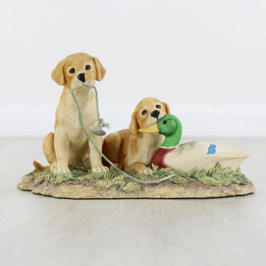Lab Pups With Decoy Duck