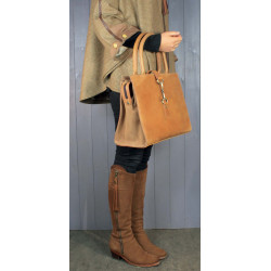 Alice Bag In Tan Full Leather With Suede