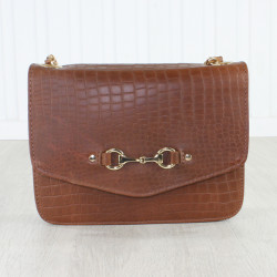 Elizabeth Evening Bag Crocodile Dark Tan