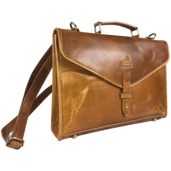Adam Brief Case Natural Leather Tan
