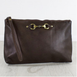 Victoria Clutch Bag Fine Leather Brown Was £65