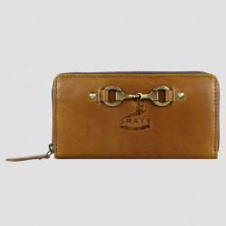 Sally Zip Round Purse Natural Leather Tan