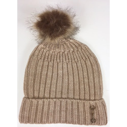 Knitted Snaffle Bobble Hat Beige