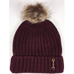 Knitted Snaffle Bobble Hat Wine