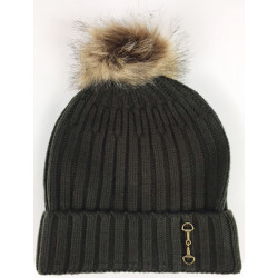 Knitted Snaffle Bobble Hat Green