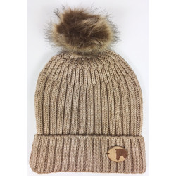 Knitted Coin Bobble Hat Beige