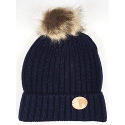 Knitted Coin Bobble Hat Navy