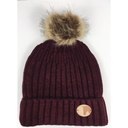 Knitted Coin Bobble Hat Wine