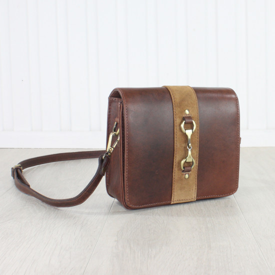 Julia Side Bag Natural Leather and Suede Brown