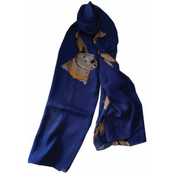 Scarf Hares Blue