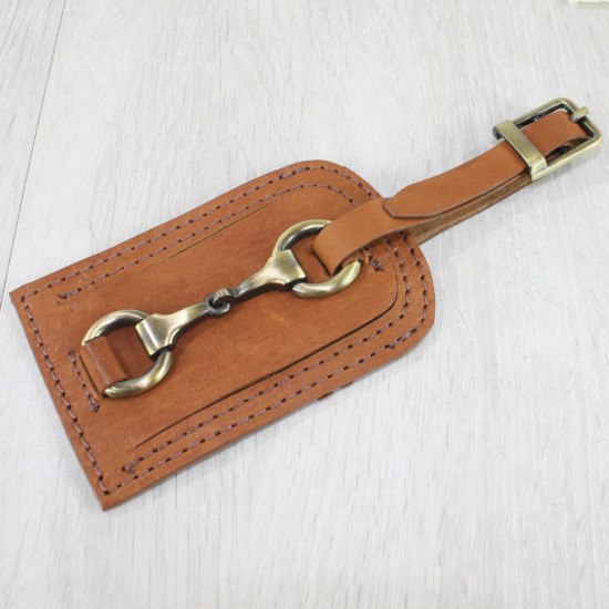 Luggage Tag With Snaffle Tan